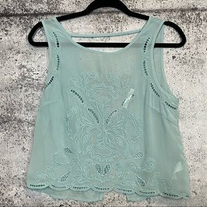 Lush // Sheer Embroidered Open Back Tank